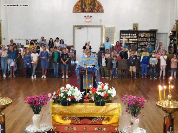 Отец Александр благословил учащихся детской школы преподобного Сергия на новый учебный год